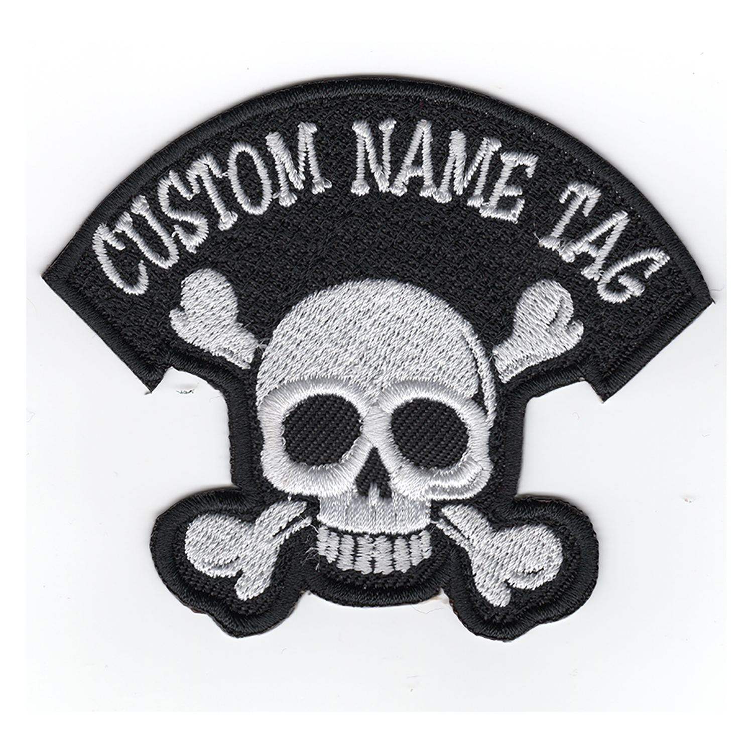 NC PATCHES Custom Name Embroidered Skull Biker Patch