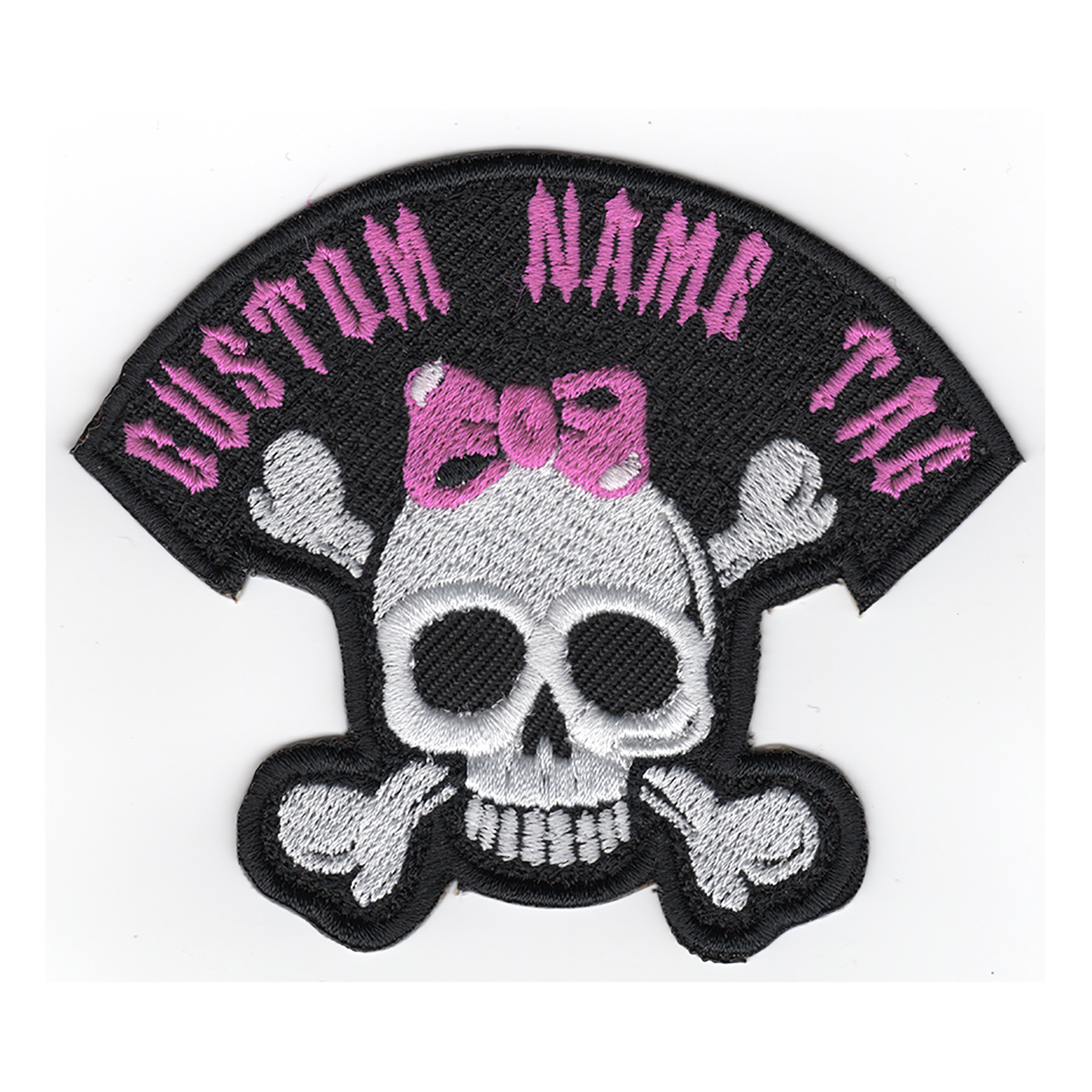$3.50; Custom Embroidered Girl Skull Name Tag Biker Patch
