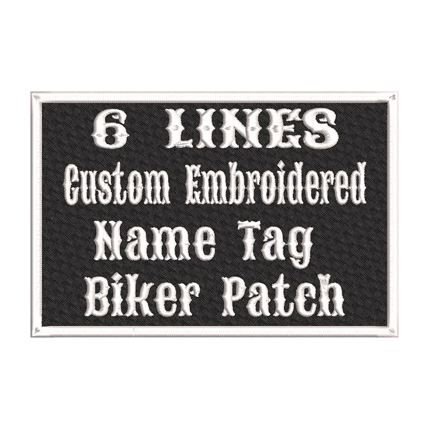 6 x 4 Custom Embroidered Name Tag Biker Vest Patch