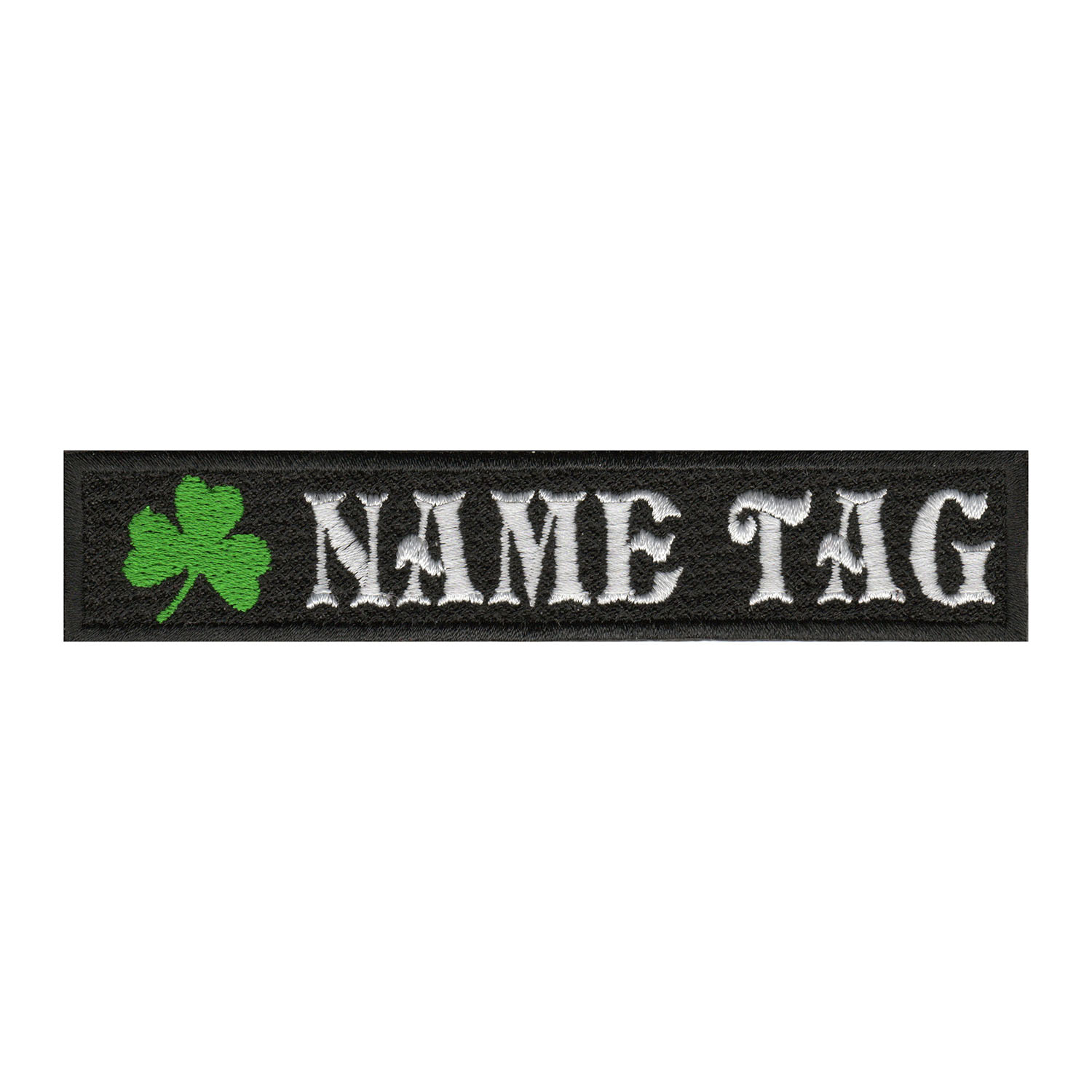 Irish Clover Custom Embroidered Name Tag Biker Patch