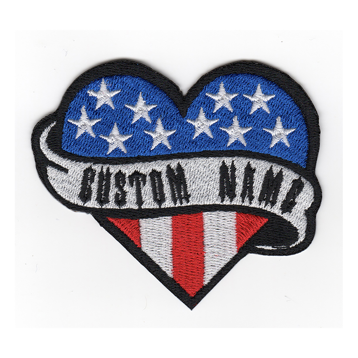 USA Flag Heart Custom Name Tag Biker Vest Patch