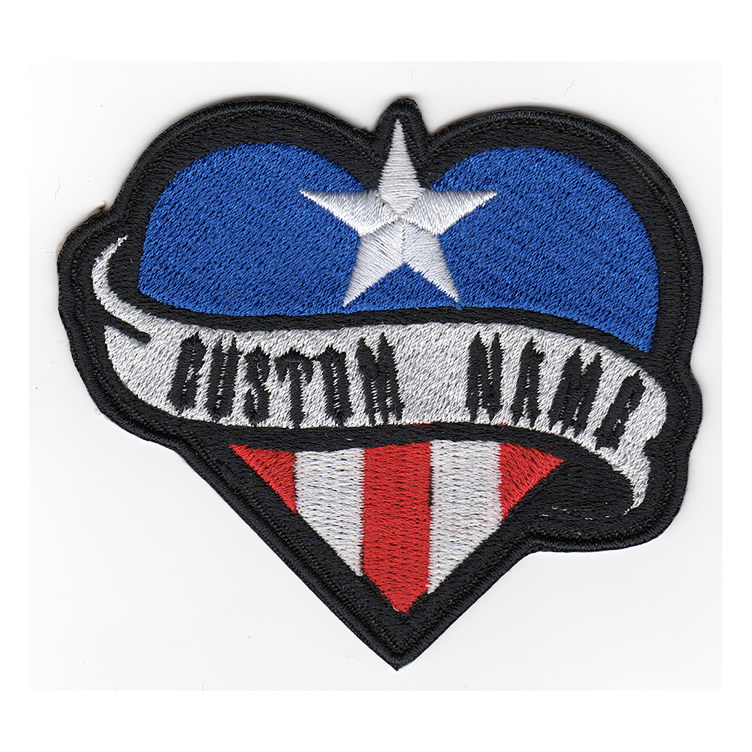 Puerto Rican Heart Flag Name Tag Biker Vest Patch
