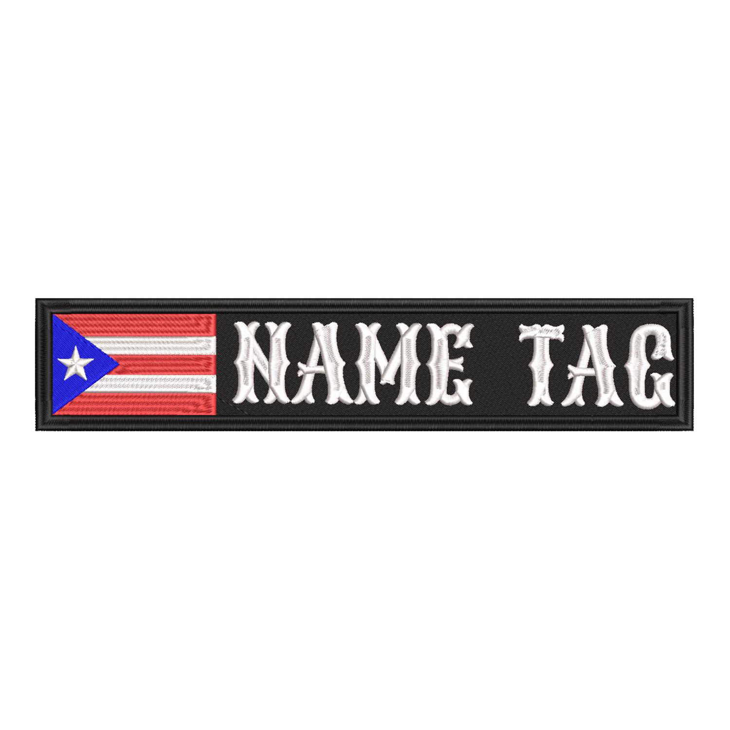 Puerto Rican Flag Name Tag Biker Patch