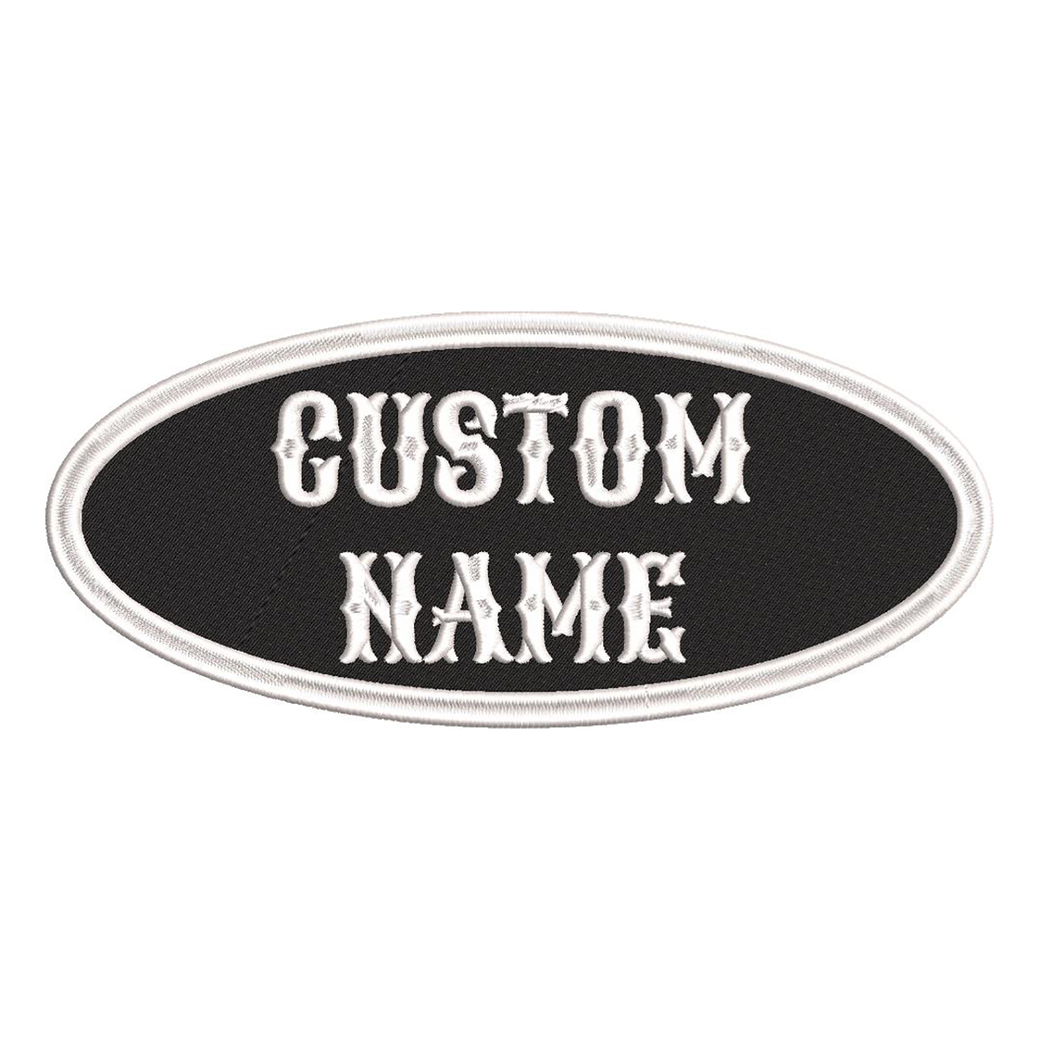 4 inches Oval Custom Embroidered Name Tag Biker Patch