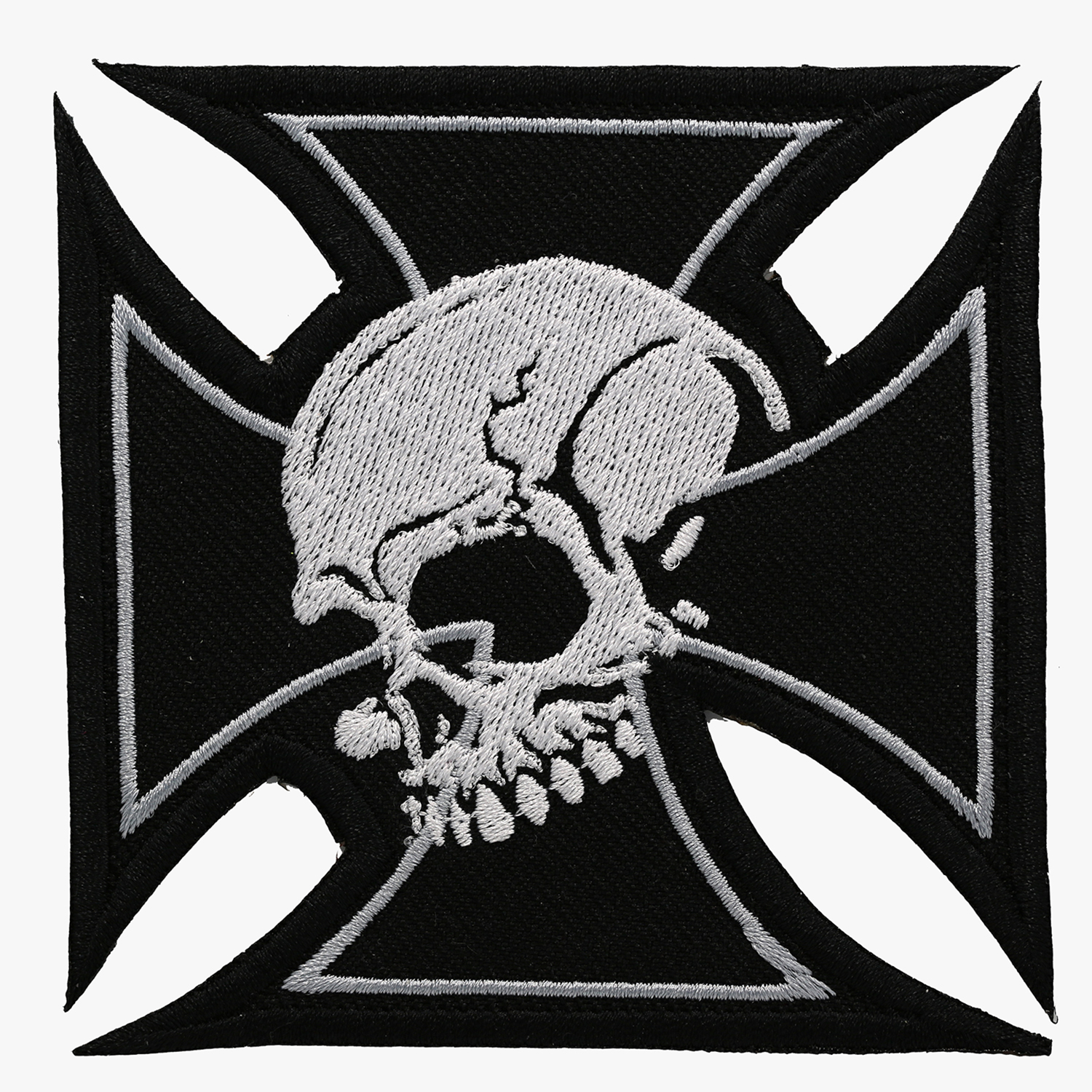 IRON CROSS SKULL BIKER VEST PATCH