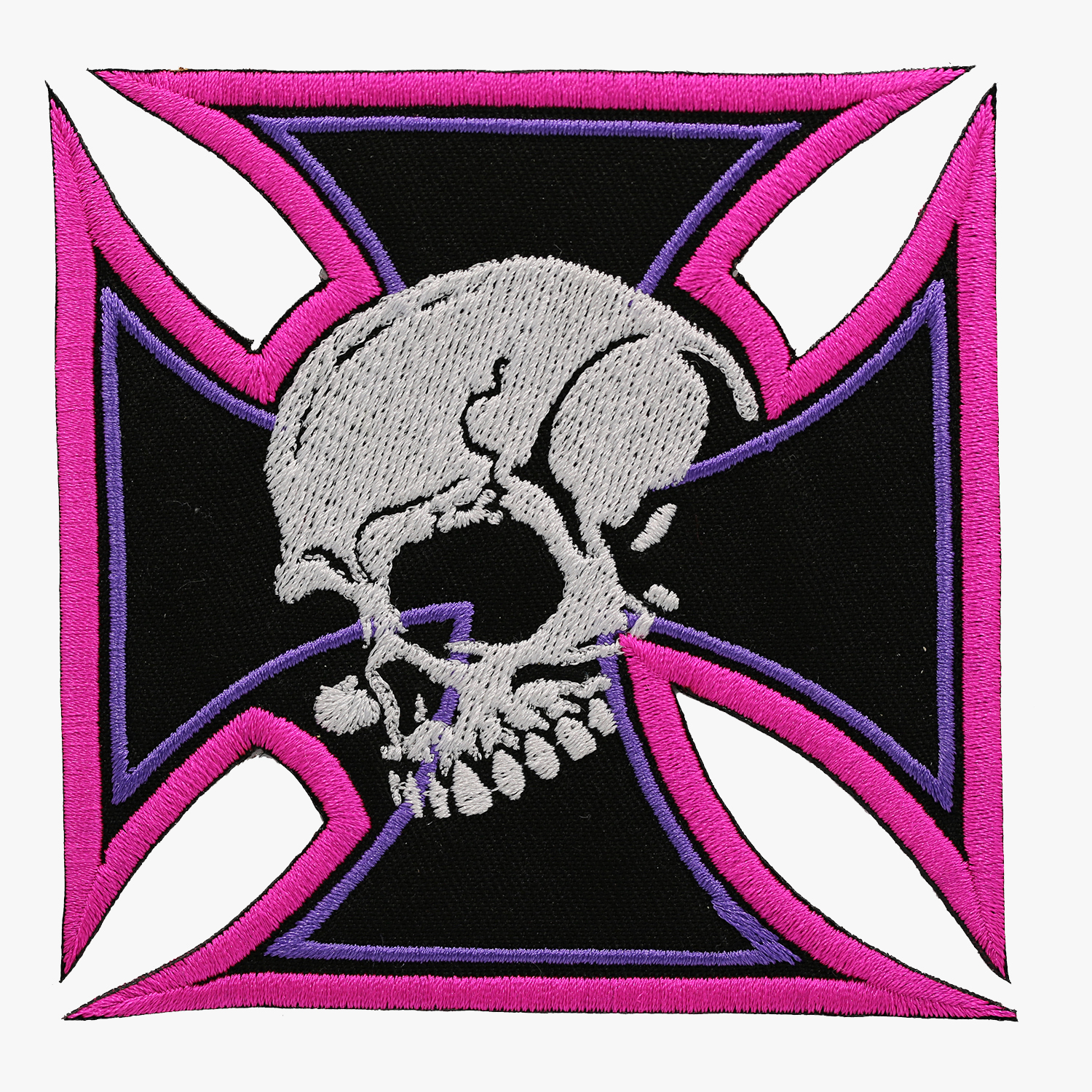 LADY IRON CROSS SKULL BIKER PATCH