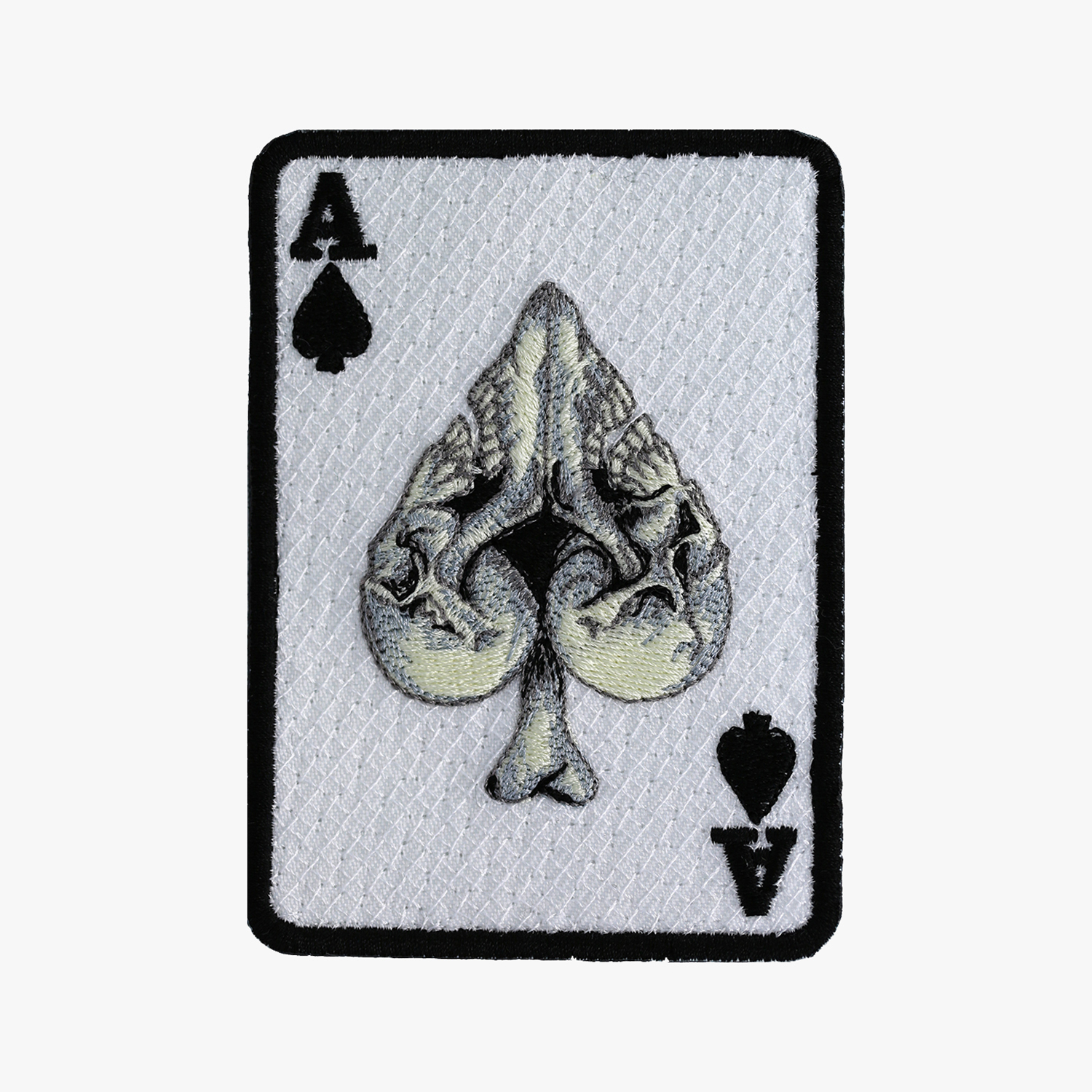 ACE of SPADE SKULL BIKER EMBROIDERY PATCH