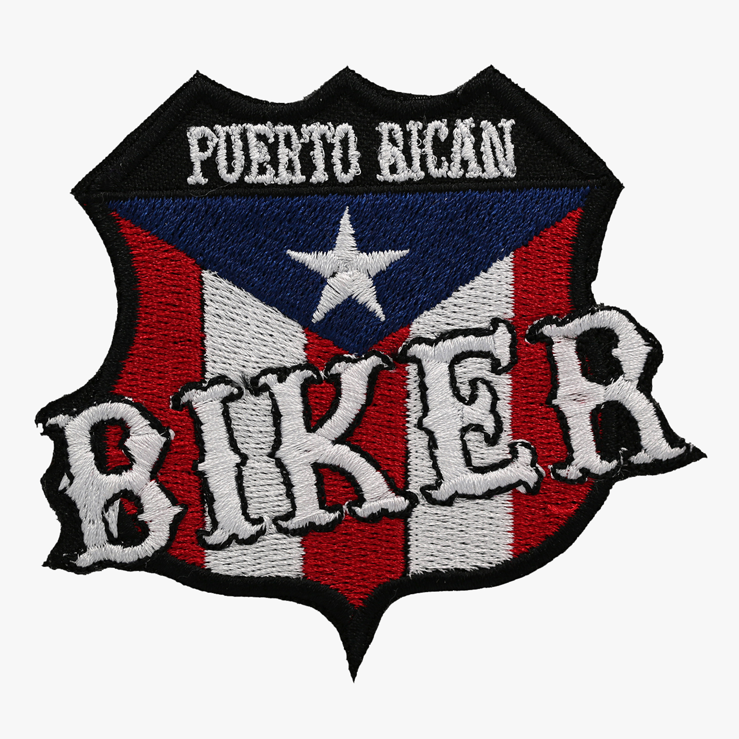 PUERTO RICAN BIKER FLAG SHIELD PATCH