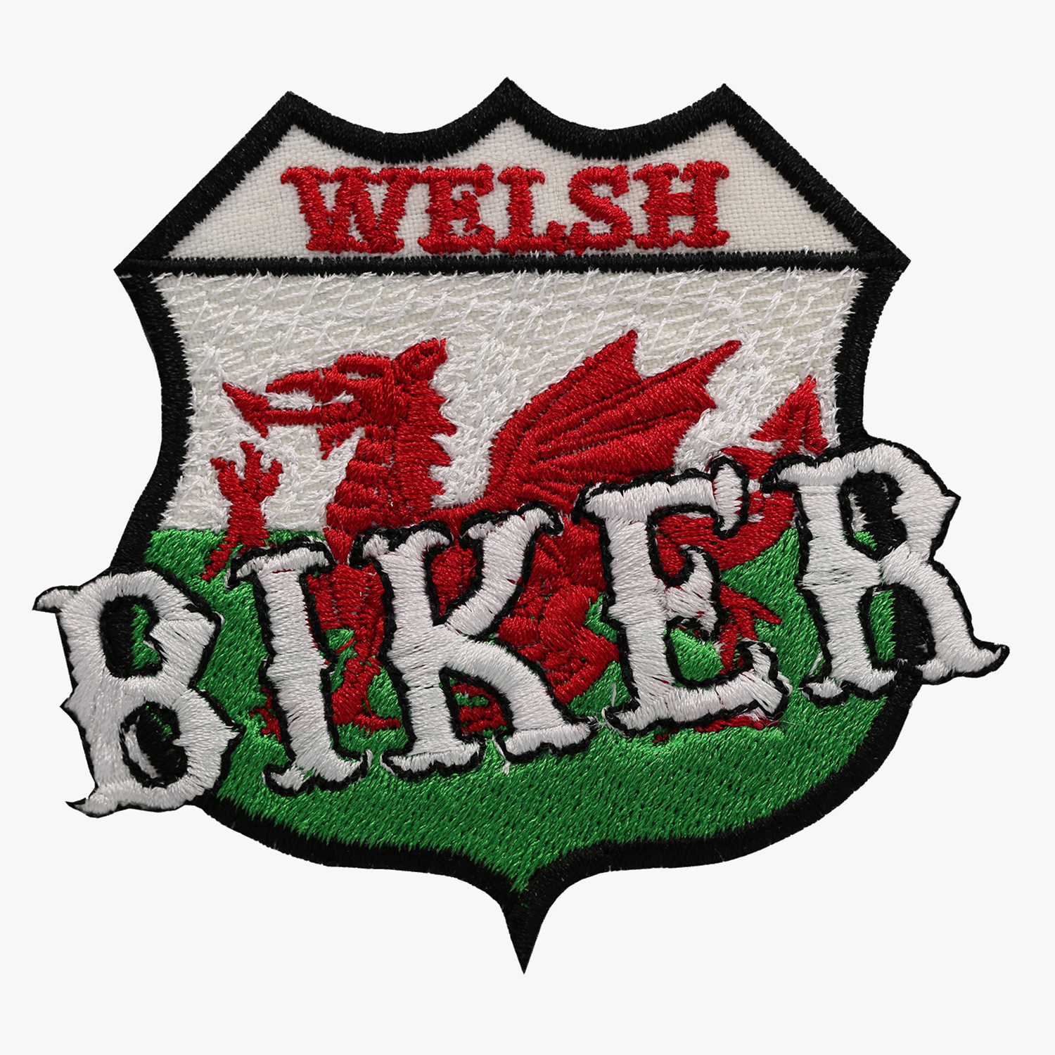 WELSH BIKER FLAG EMBROIDERY PATCH