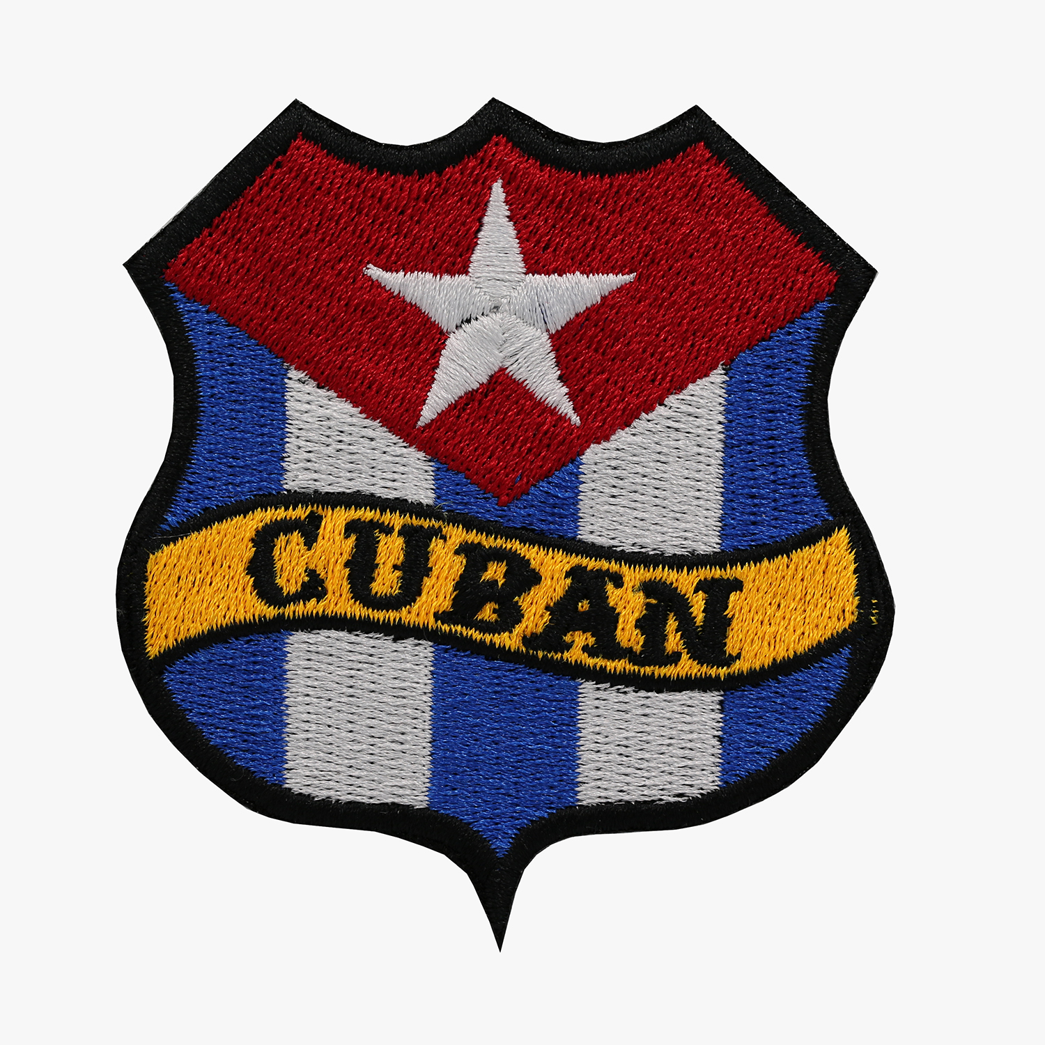 CUBAN FLAG BANNER SHIELD BIKER MC PATCH