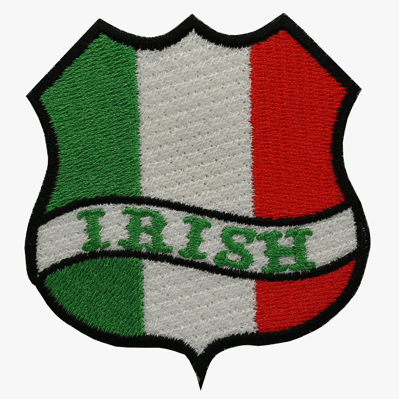 IRISH FLAG BANNER SHIELD BIKER MC PATCH