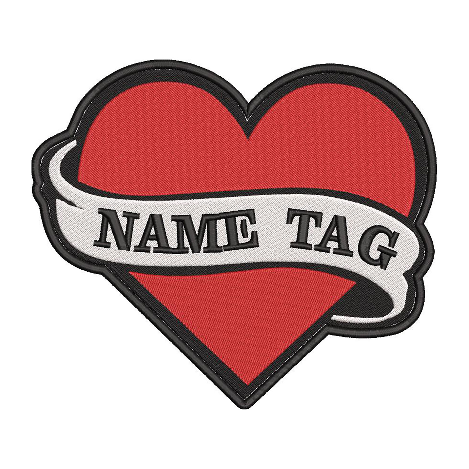 Embroidered Heart Custom Flag Name Tag Biker Vest Patch
