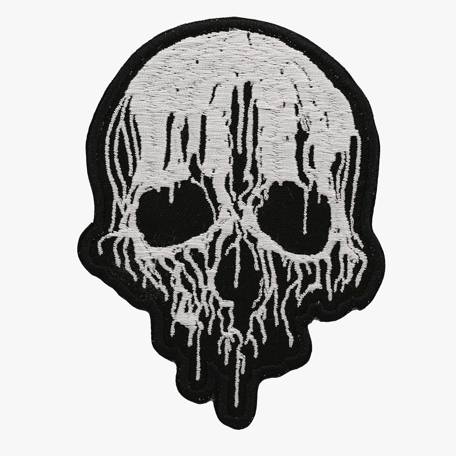 New Melted Skull Embroidered Biker Vest Patch