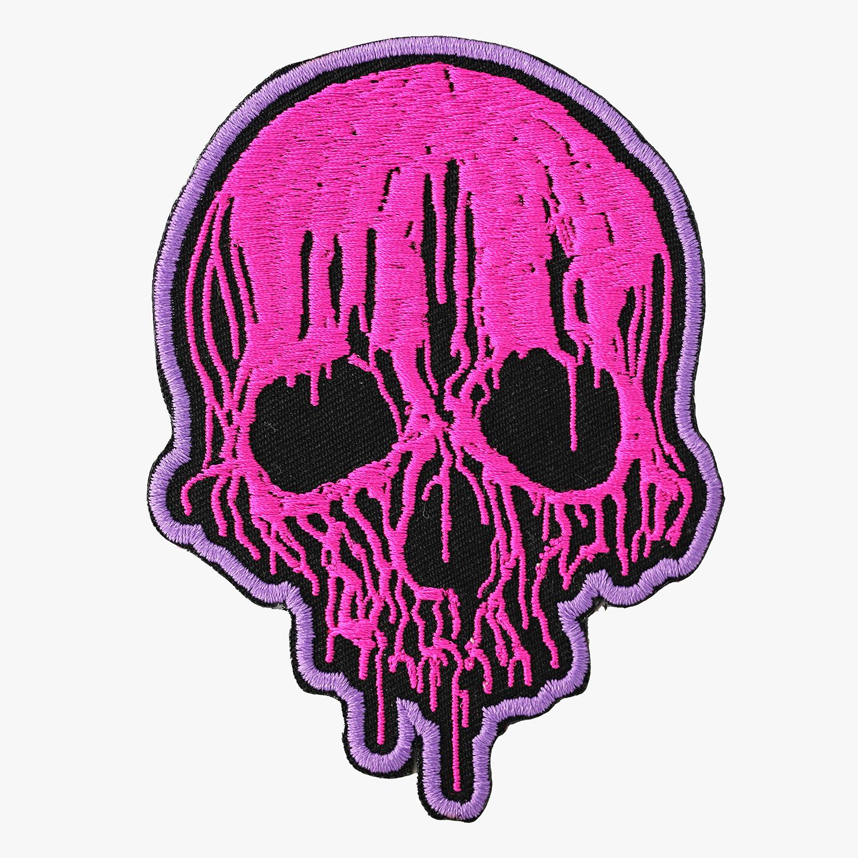 New Melted Skull Embroidered Biker Vest Patch