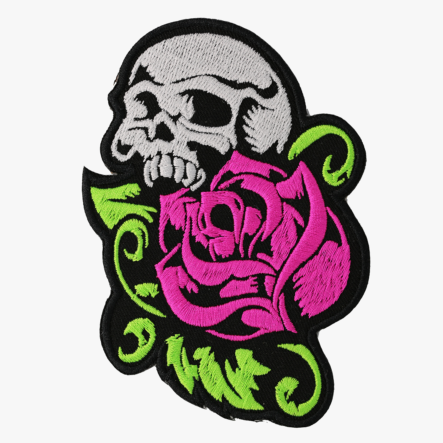 Fuchsia Rose Skull Embroidered Women Vest Patch