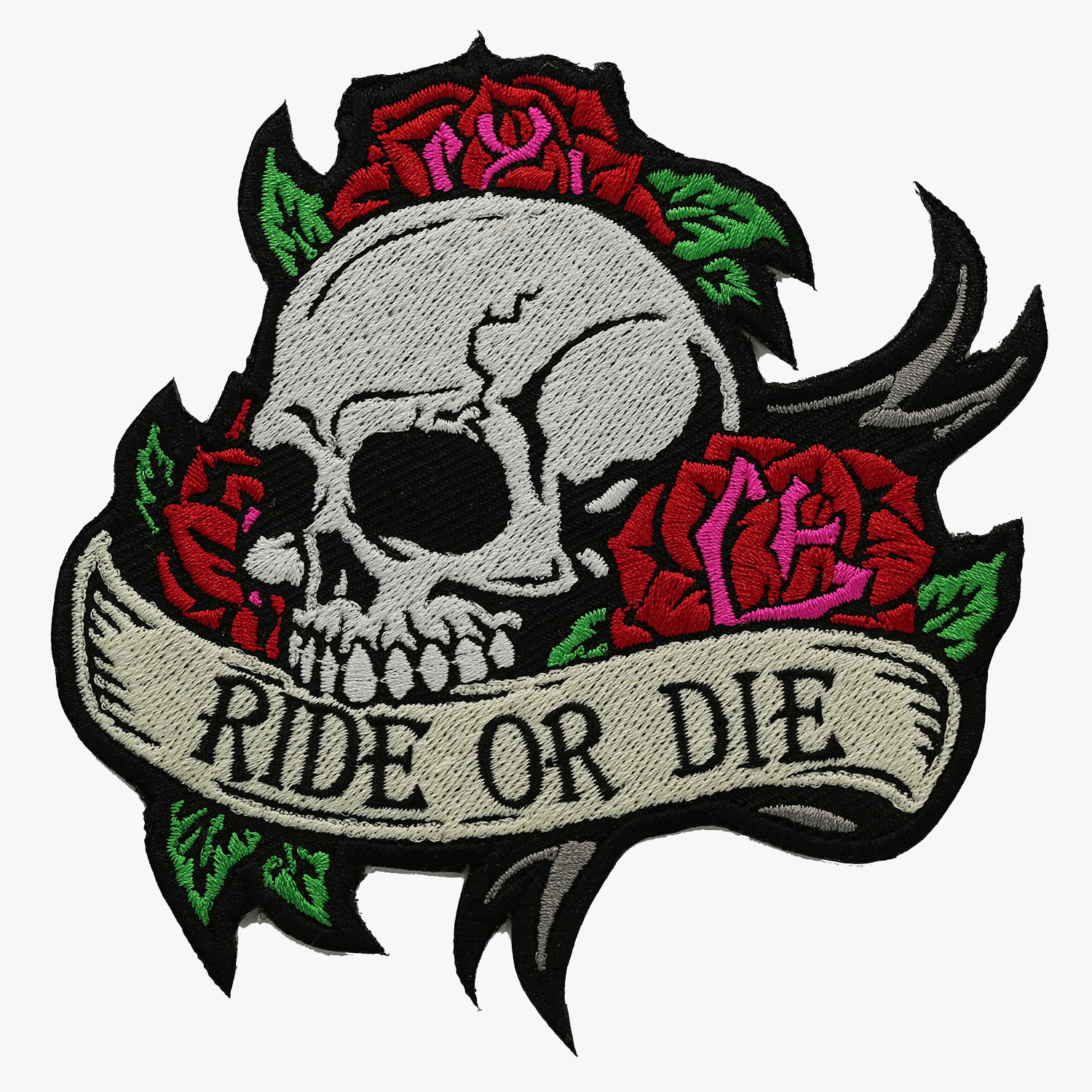 Ride or Die Skull with Roses BIKER NC PATCHES