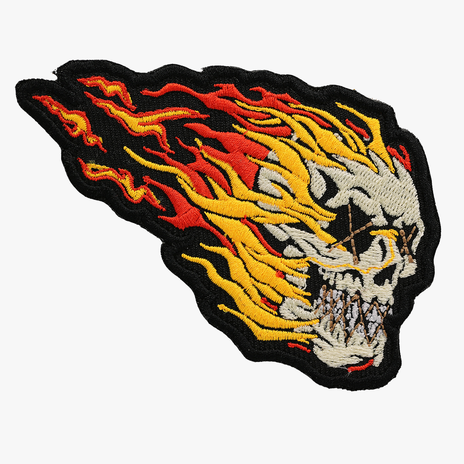 SKULL ON FIRE EMBROIDERED BIKER NC PATCHES