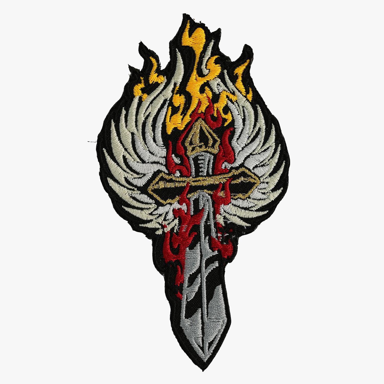 Sword & Wing embroidered Biker Vest Patch