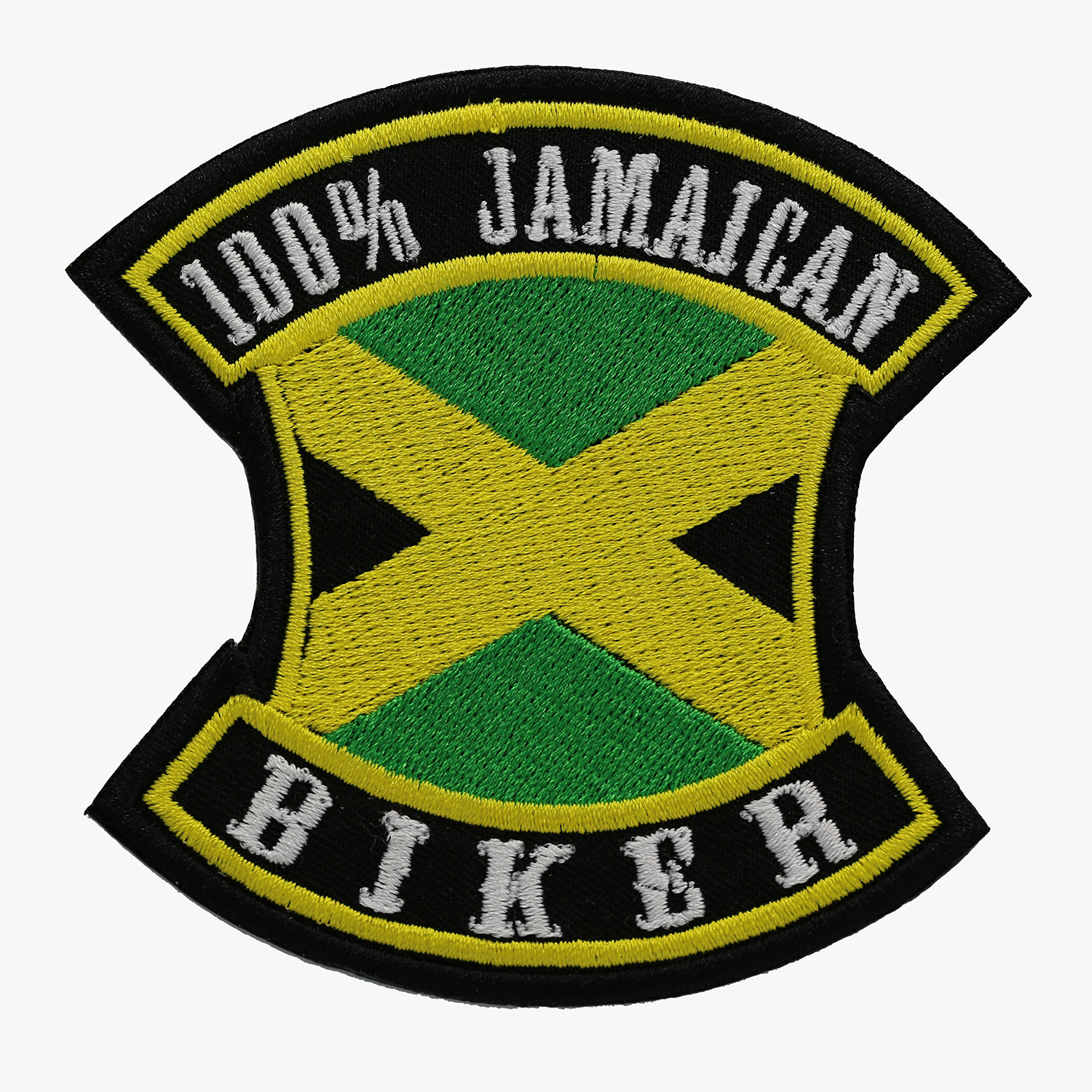 100 PERCENT JAMAICAN BIKER EMBROIDERED PATCH