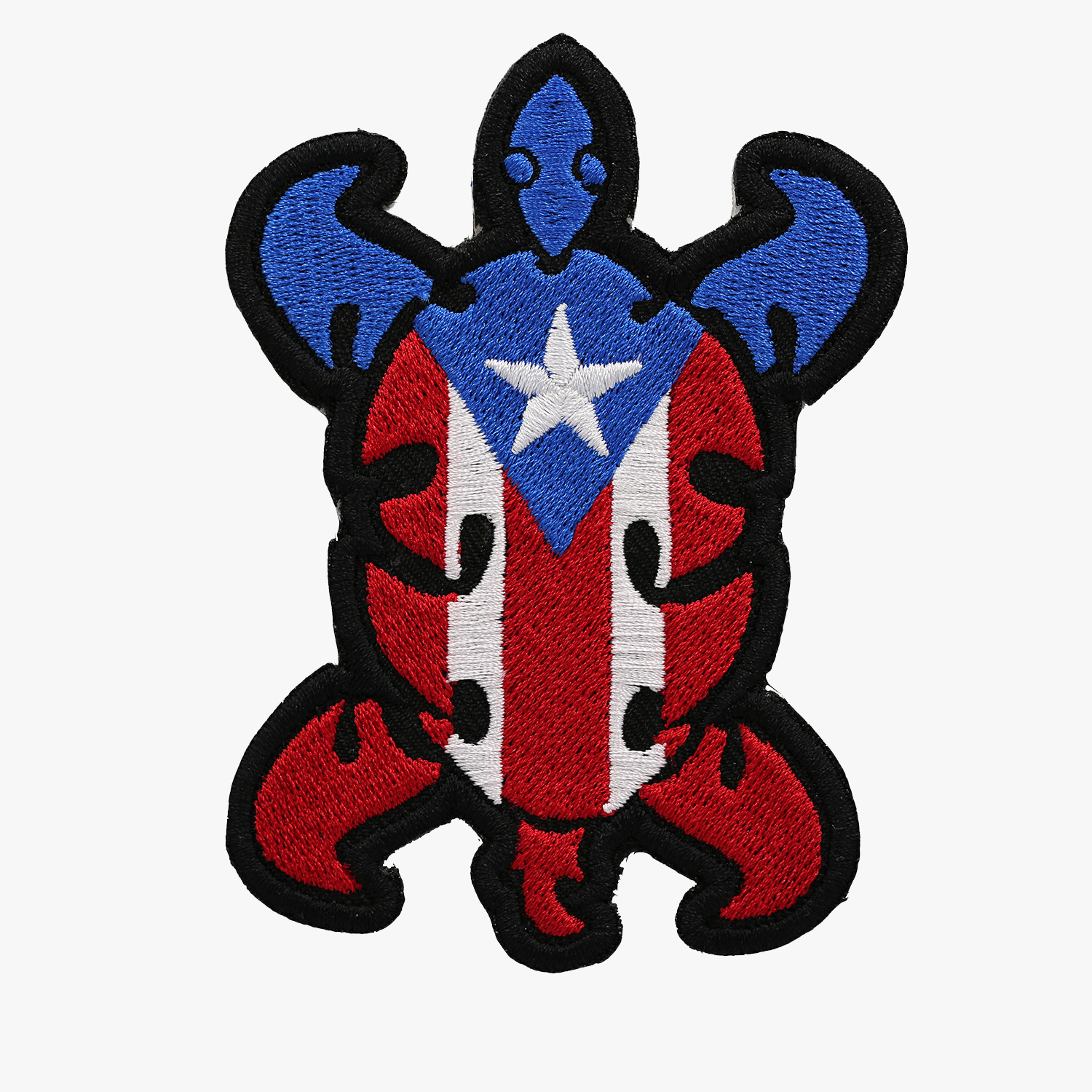 PUERTO RICO BIKER TURTLE FLAG EMBROIDERED PATCH
