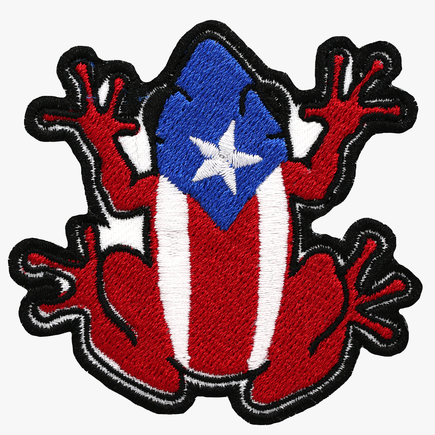 PUERTO RICO BIKER COQUI FLAG EMBROIDERED PATCH
