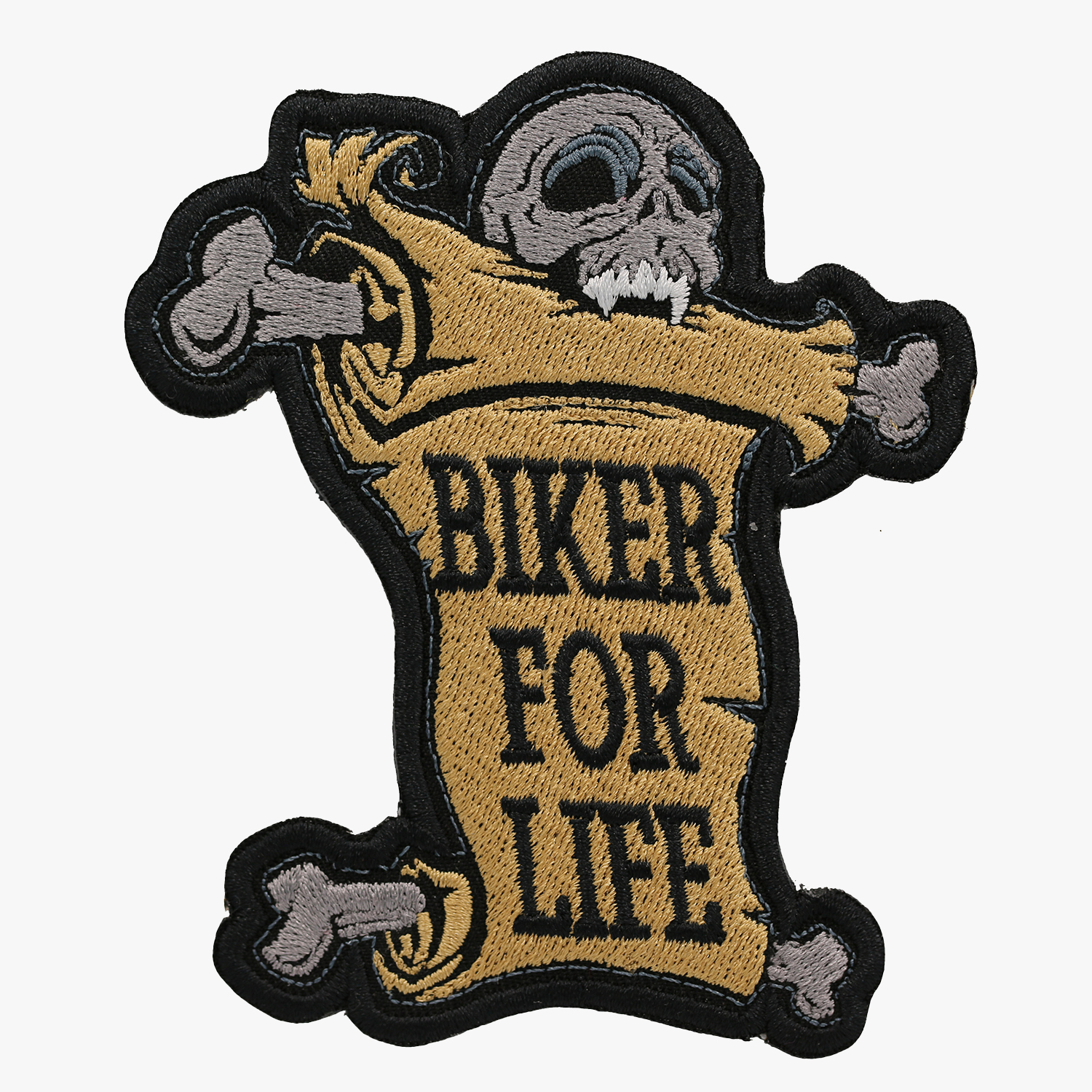 BIKER FOR LIFE SKULL Embroidered Vest PATCH