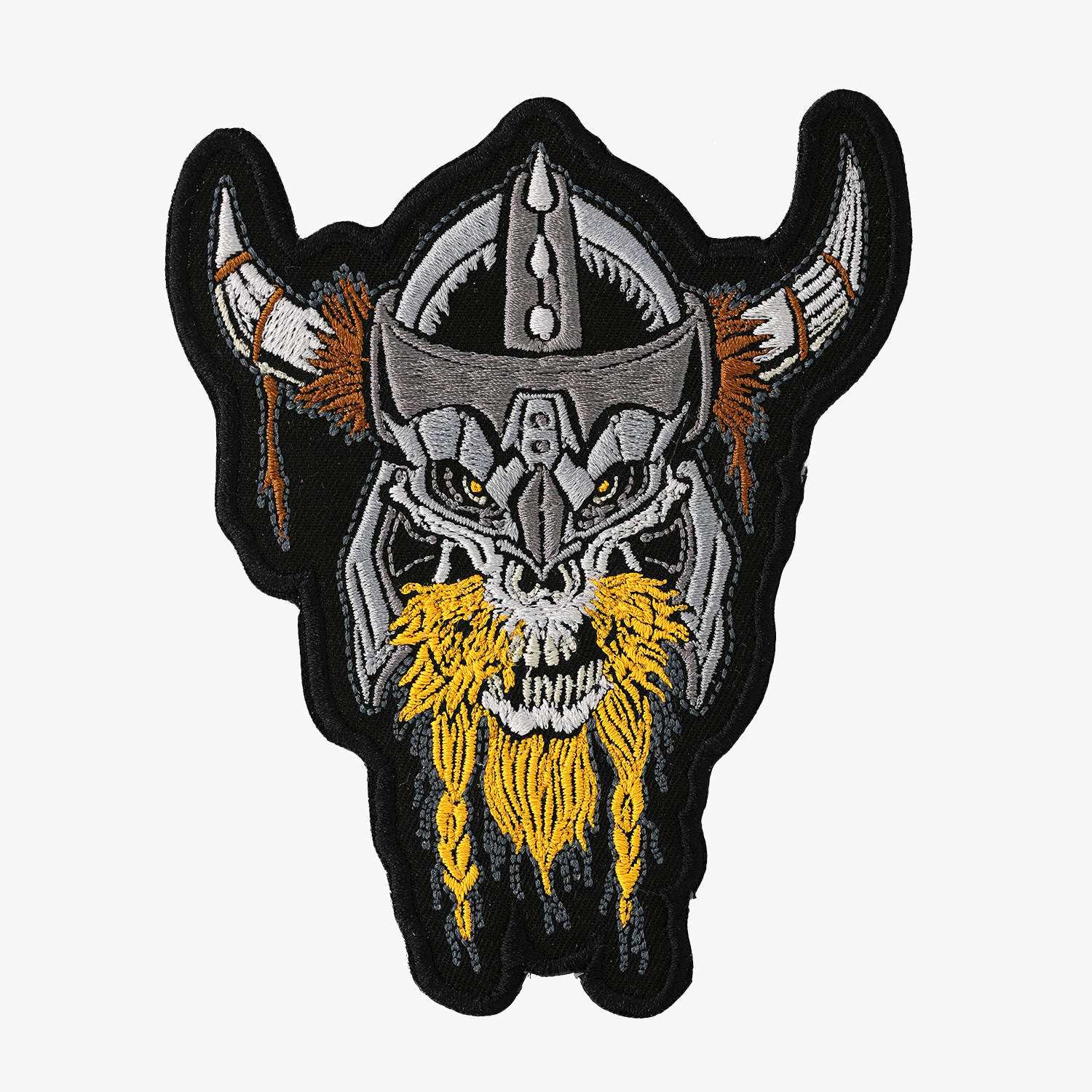 Viking Skull Biker Vest Embroidered Patch