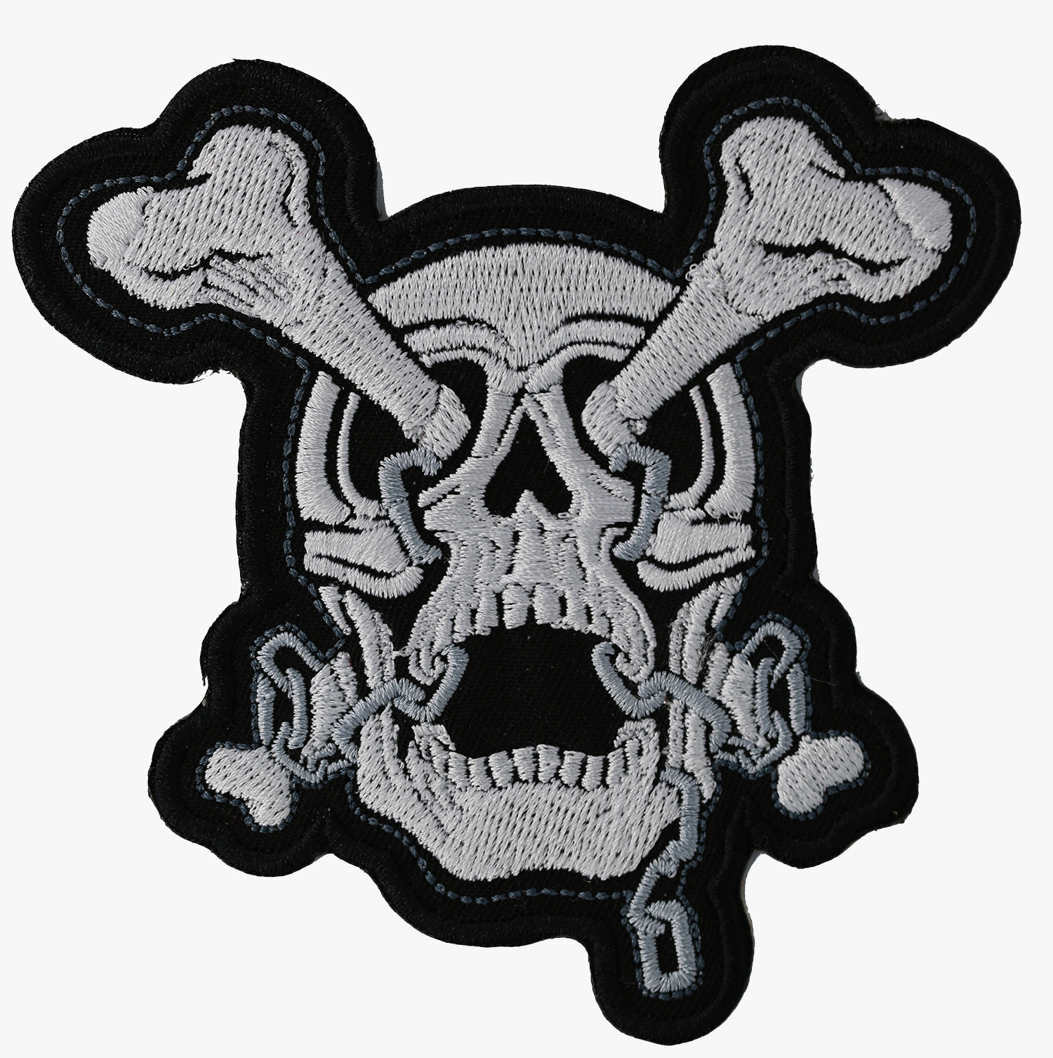 NEW CROSS BONES SKULL Biker Vest Embroidered Patch