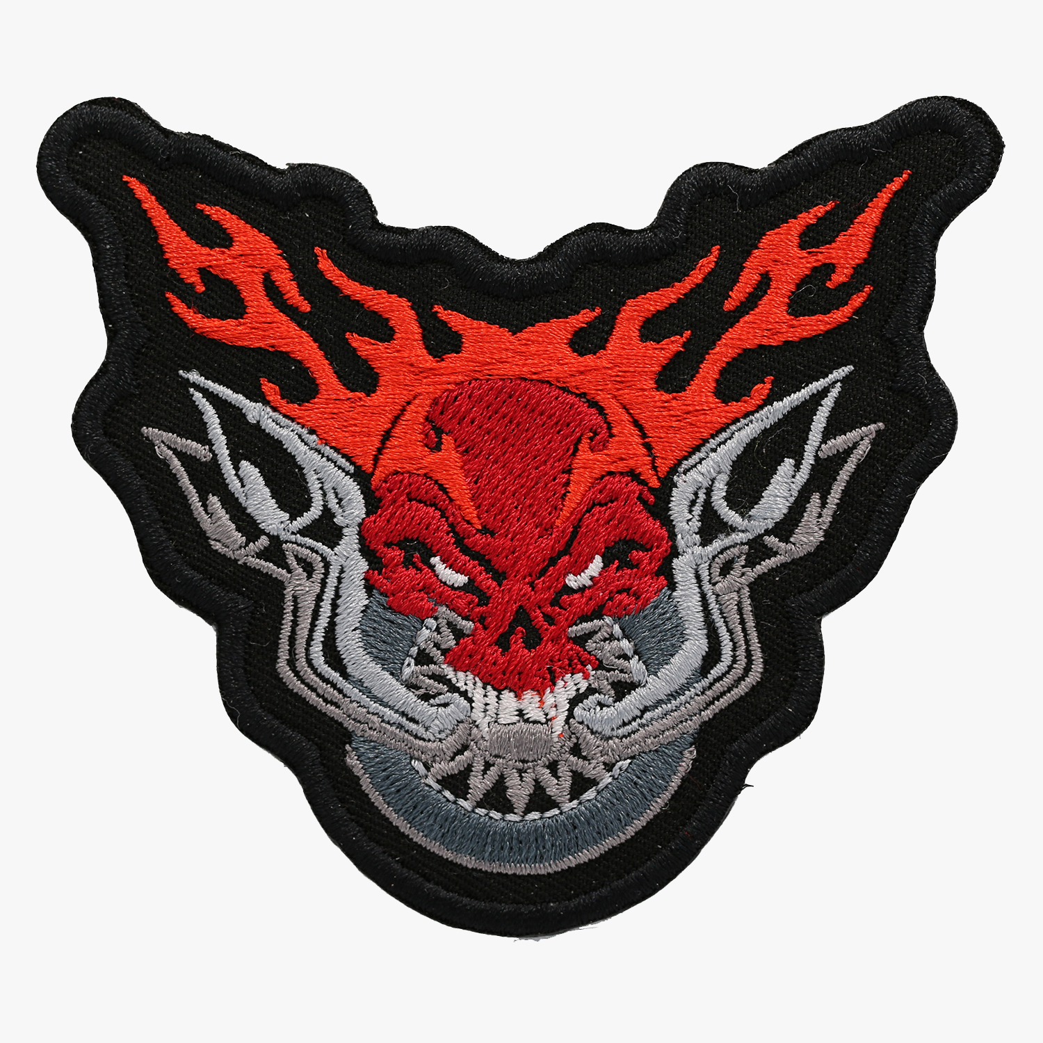 FLAME PIPES & SKULL Biker Vest Embroidered Patch