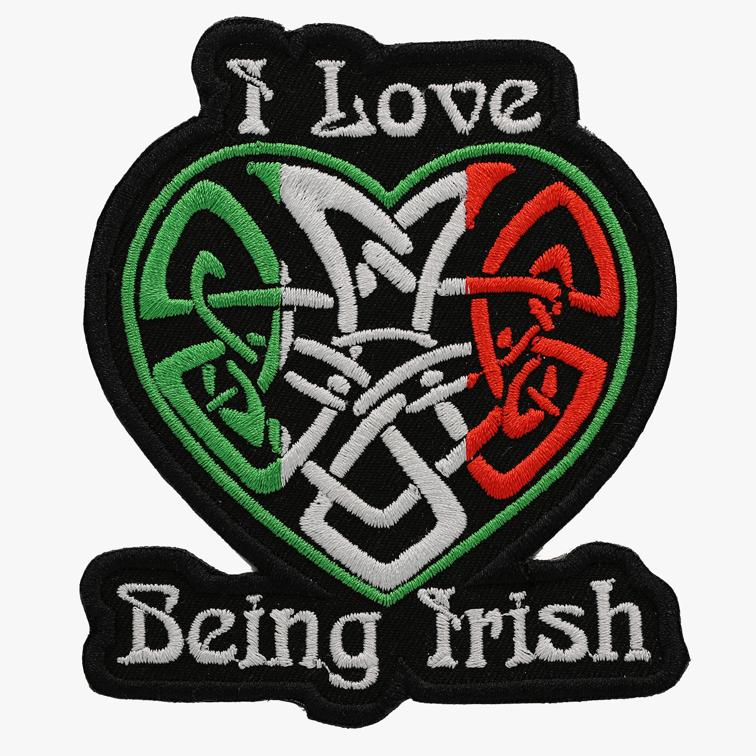 I LOVE BEING IRISH FLAG BIKER EMBROIDERED PATCH