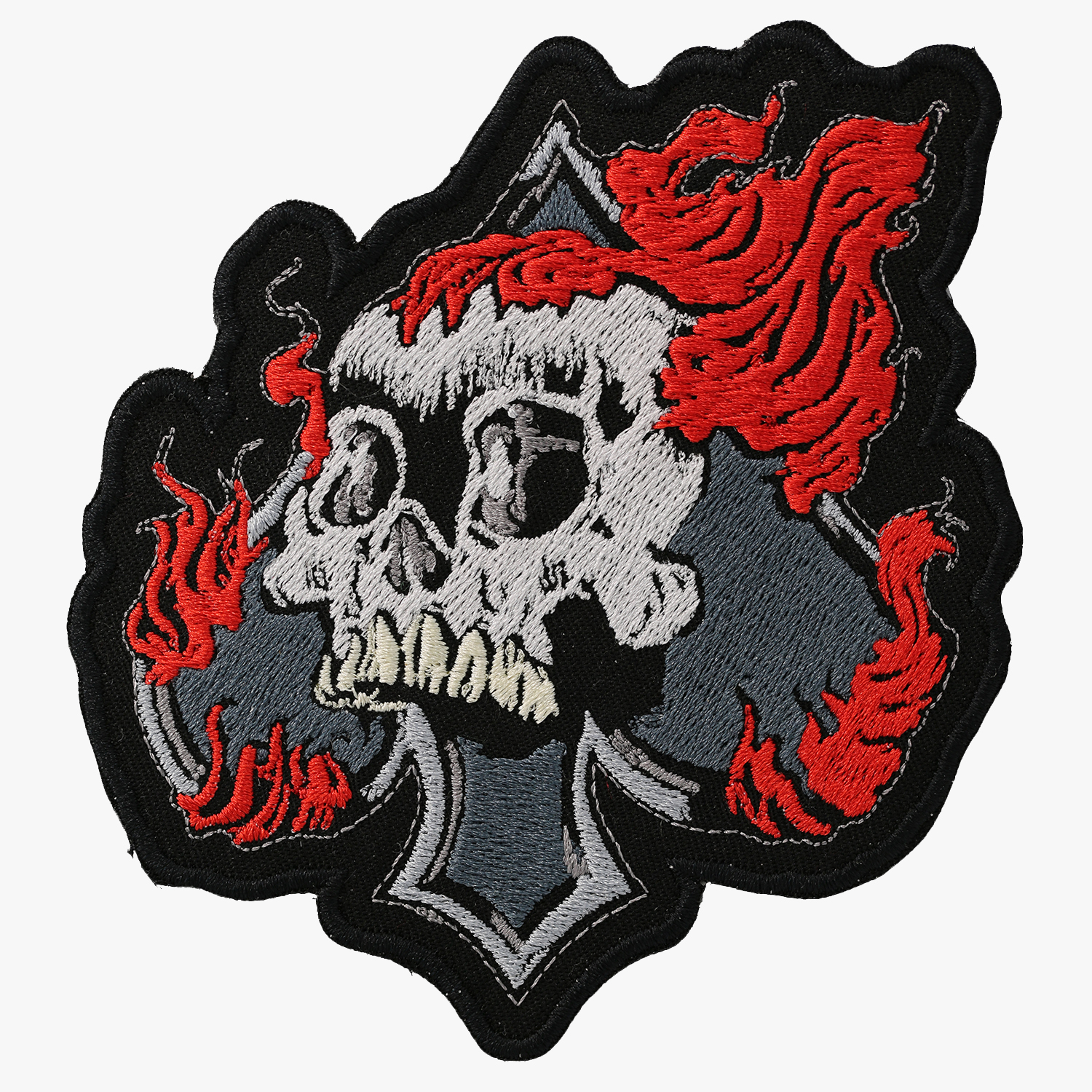 FLAME SPADE SKULL Biker Vest Embroidered Patch