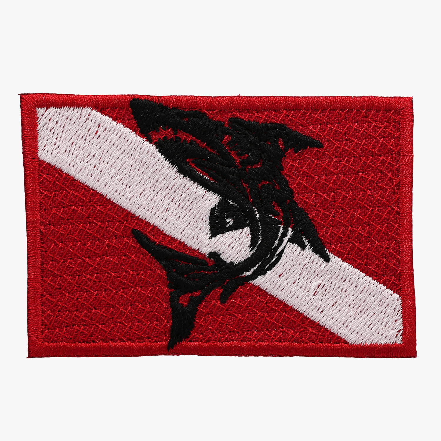 Diving Shark Flag Embroidered Cut Patch