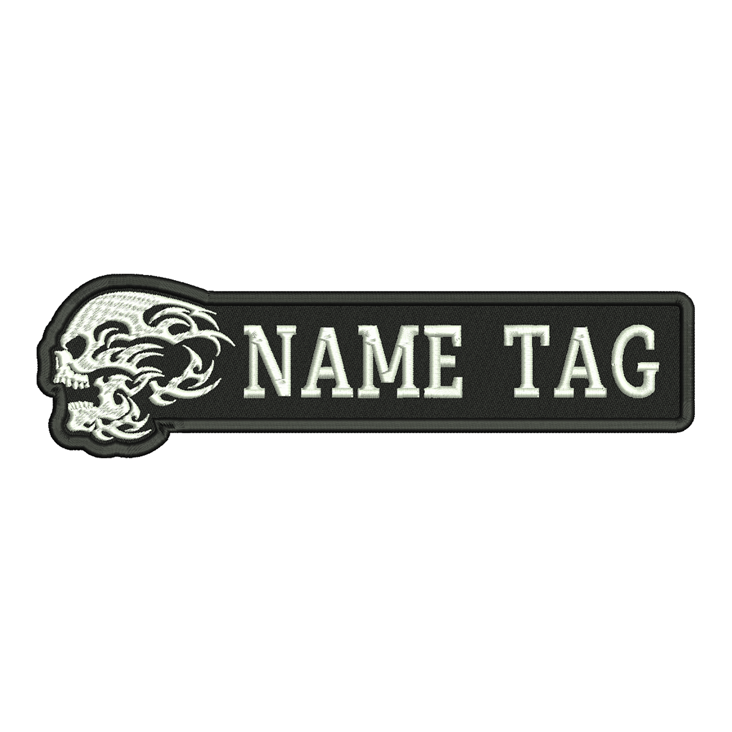 Flame Skull Custom Name Tag Biker Vest Patch