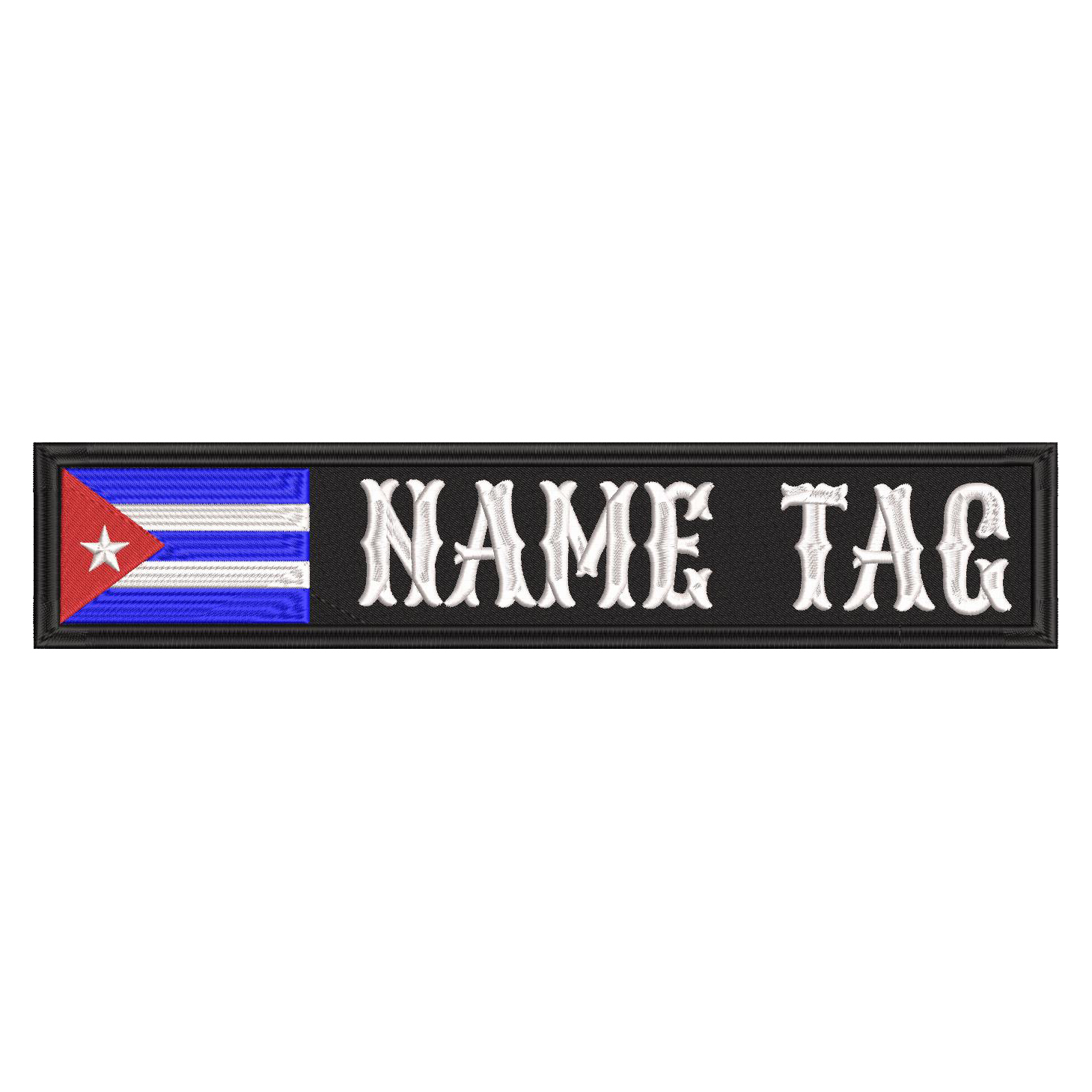 Cuban Flag Custom Name Tag Biker Vest Patch