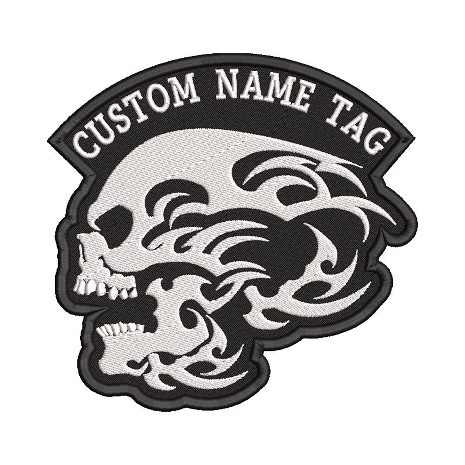 Tribal Skull Custom Embroidered Name Tag Biker Patch