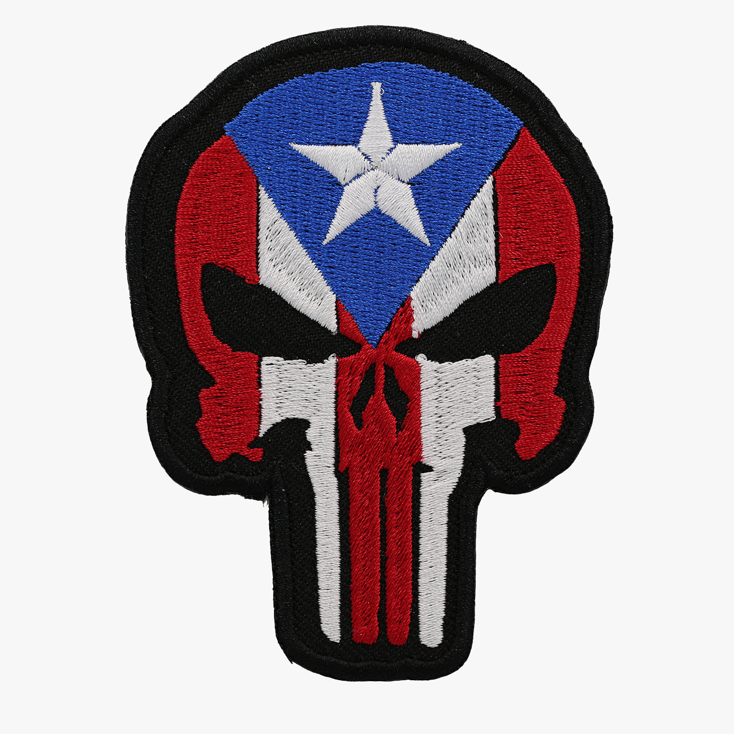 Puerto Rico Flag Punisher Skull Embroidered Biker Patch