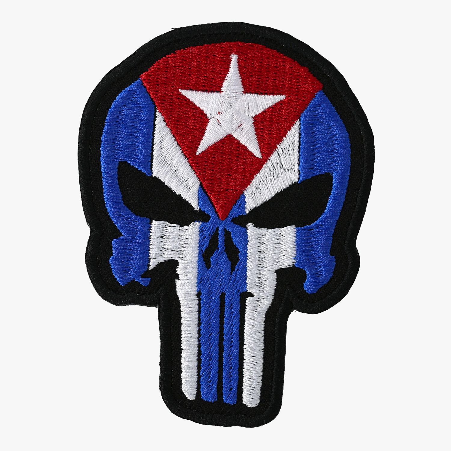 Cuba Flag Punisher Skull Embroidered Biker Patch