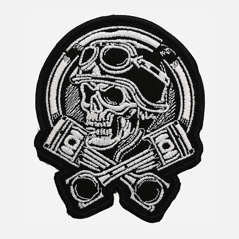 Racing Piston Skull Embroidered Biker leather Vest Patch
