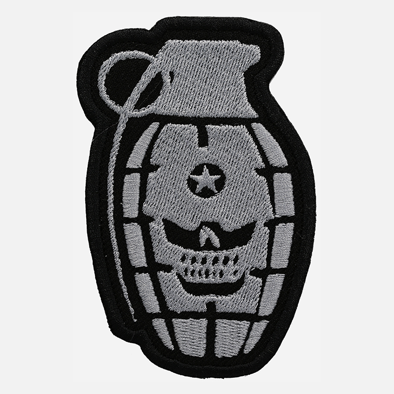 Hand Grenade Skull Embroidered Biker Vest Patch