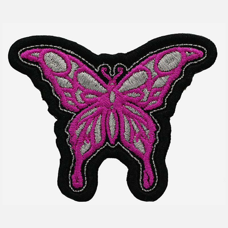 New Fuchsia Butterfly Embroidered Women Cut patch