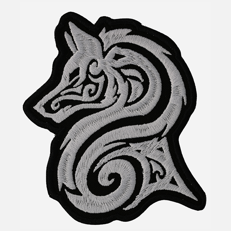Lone Tribal Wolf Embroidery Biker Leather Vest Patch