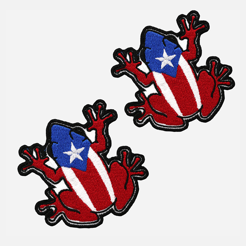 2 Puerto Rico Mini Coquí Flag Biker Embroidered Patch