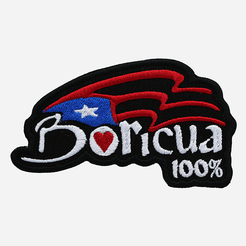 Boricua 100 Percent Motorcycle Rider Embroidered Cut Patch