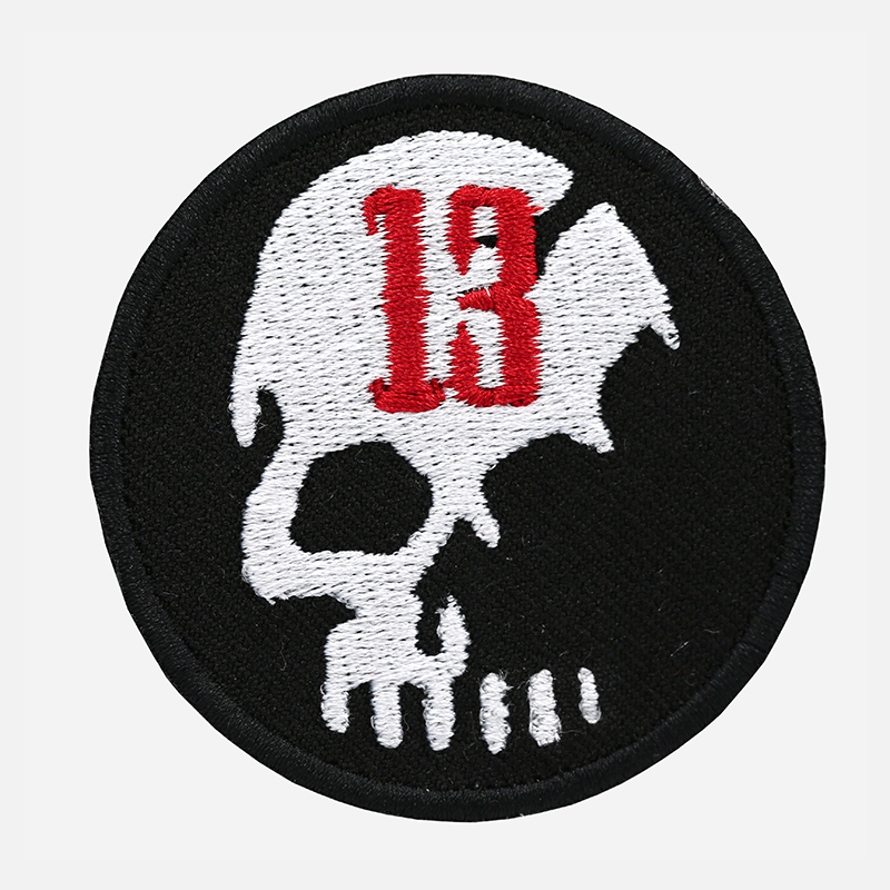 Number 13 Skull Motorcycle Rider Embroidered Cut Patch