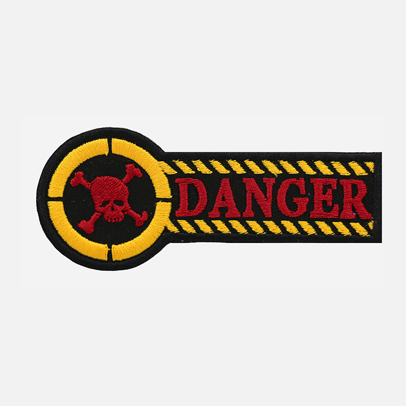 Danger Skull Motorcycle Rider Embroidered Vest Patch