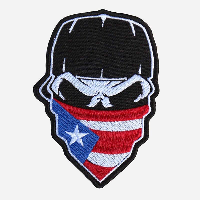 Skull With Cap And Puerto Rican Flag Bandana Embroidered Patch