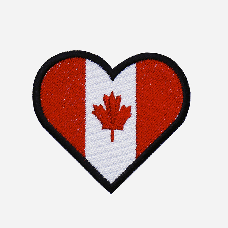 Canadian Flag Heart Embroidered Biker Leather Vest Patch