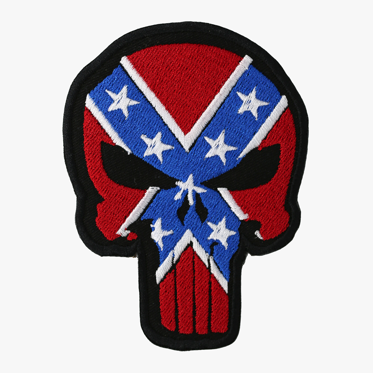 Redneck Flag Punisher Skull Embroidered Biker Patch