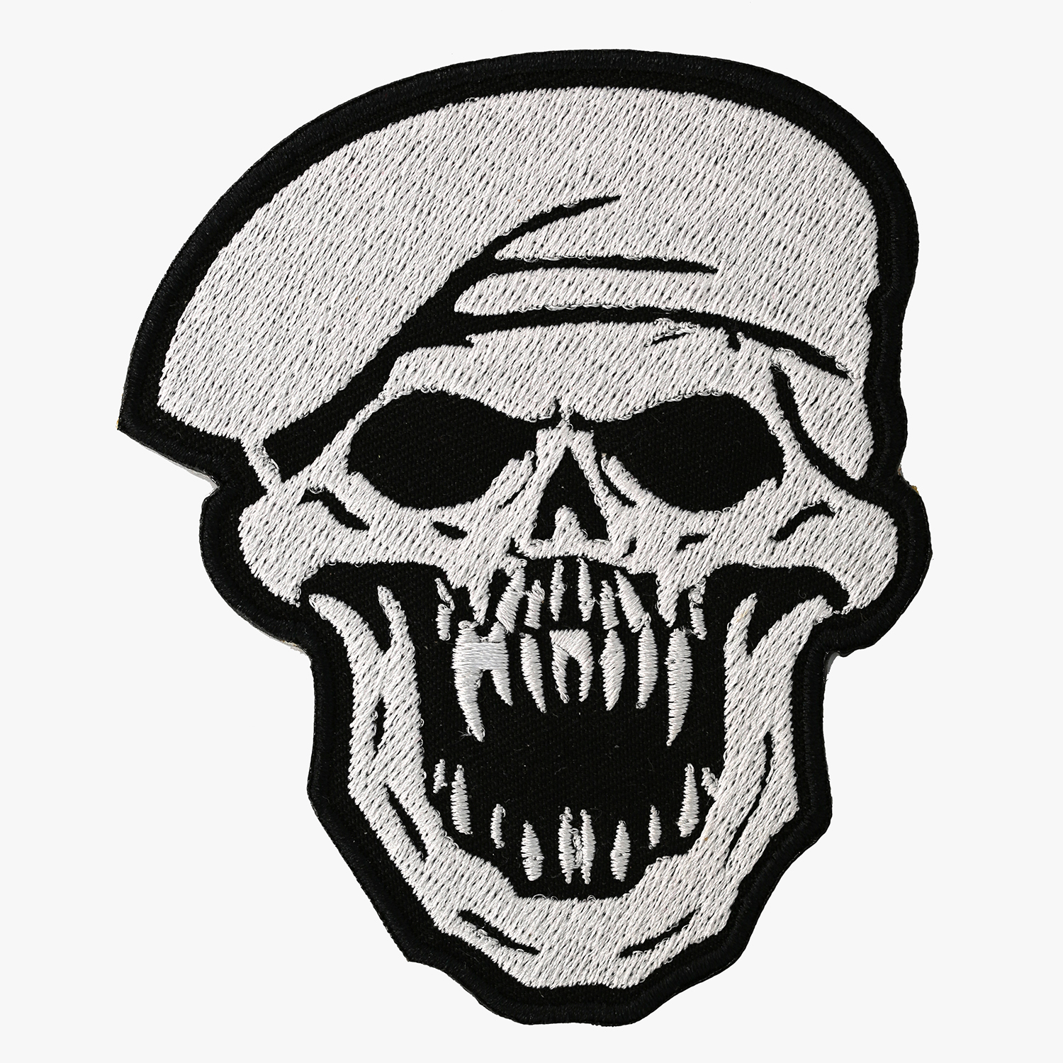 Beret Military Skull Embroidered Biker Leather Vest Patch