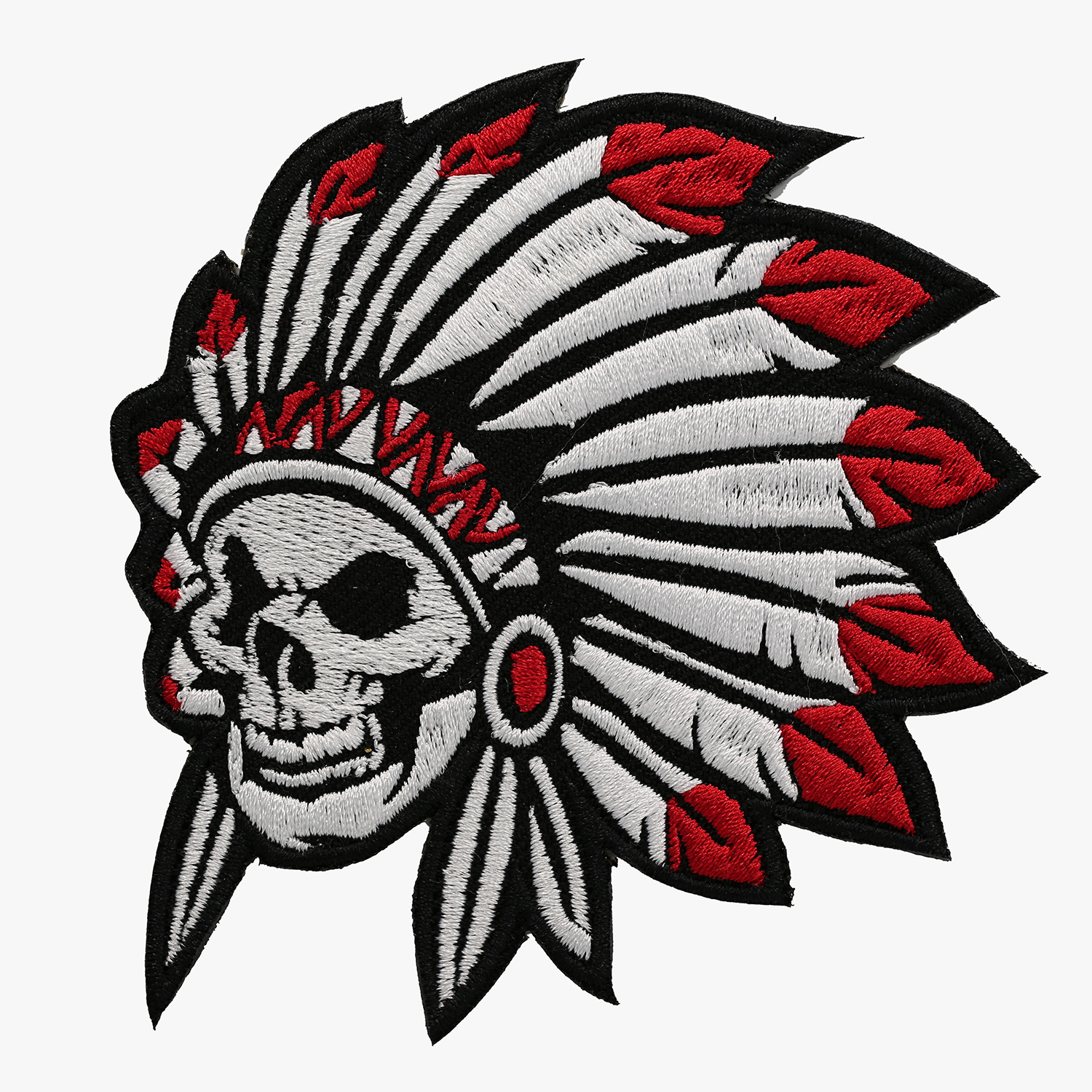 Indian Chief Skull Embroidered Biker Leather Vest Patch